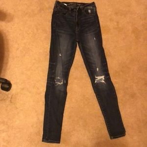 american eagle dark wash ripped jeans